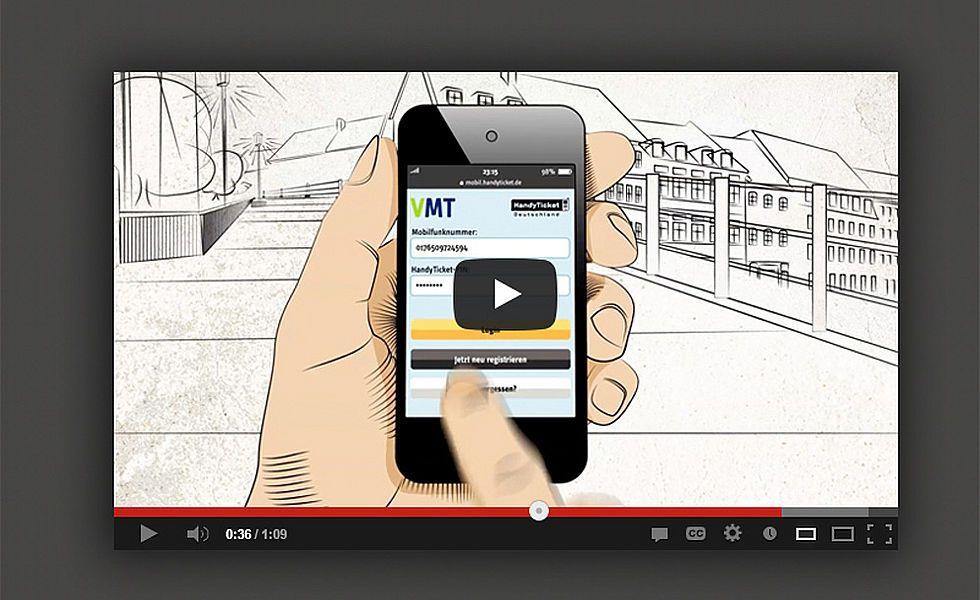 Flyer, responsive Website als Onepager und Animationsfilm VMT-Handyticket