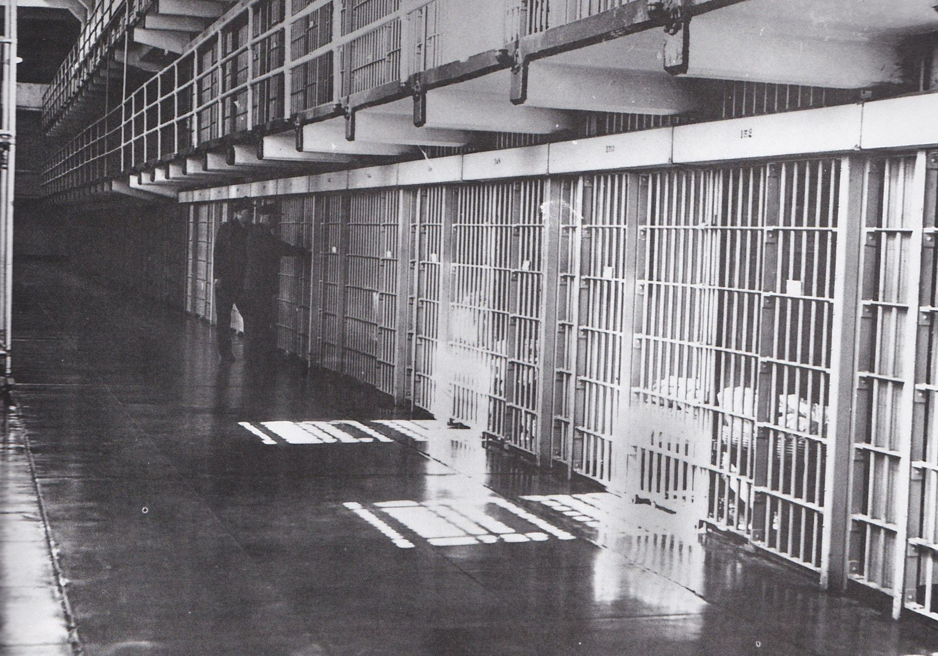 Unidentified Guards In The Main Cellblock Of Alcatraz Federal