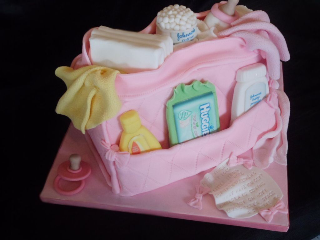 Baby Changing Bag Cake, Everything Made From Fondant