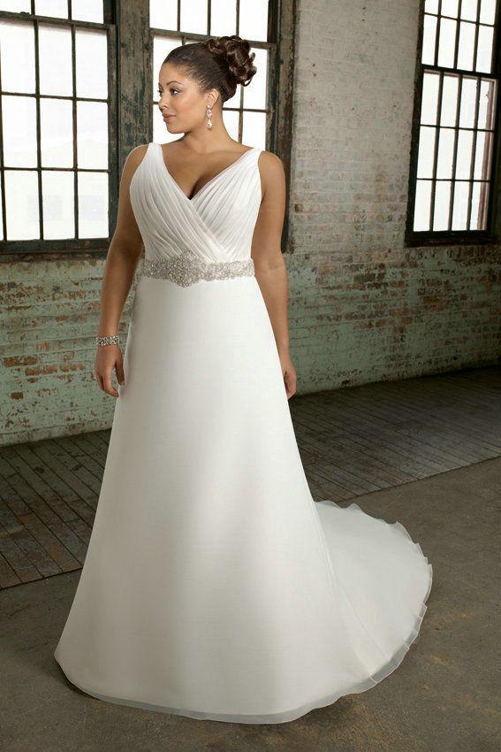 V Neck Crystal Beading White Organza Vintage Wedding Dress Plus Size ...