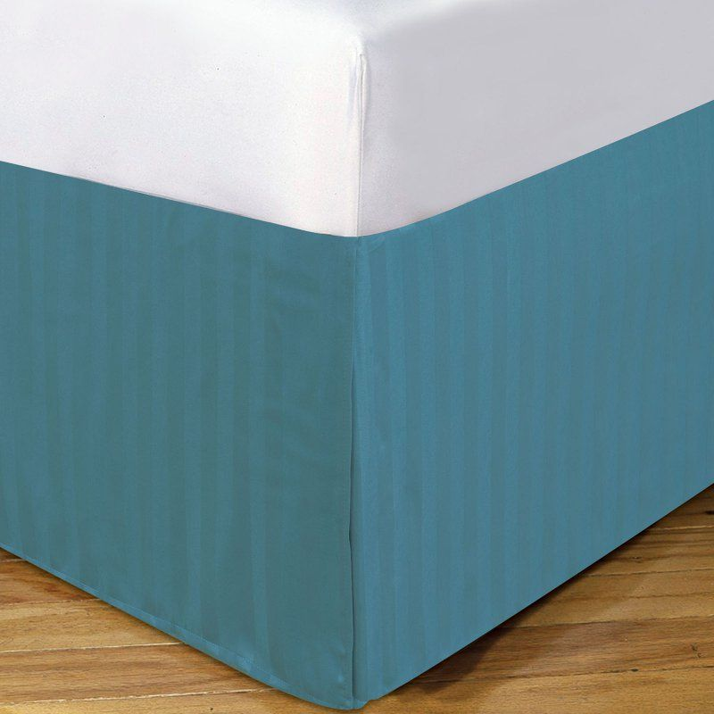 DreamSpace by Levinsohn Microfiber Damask Stripe 14-in. Bed Skirt Dusty Blue - DRM25114DTBL04