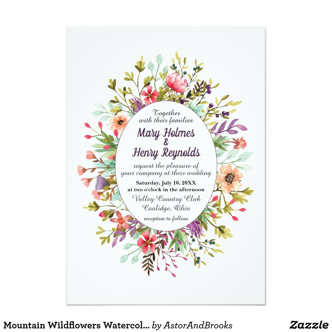Mountain Wildflowers Watercolor Wedding Invitation