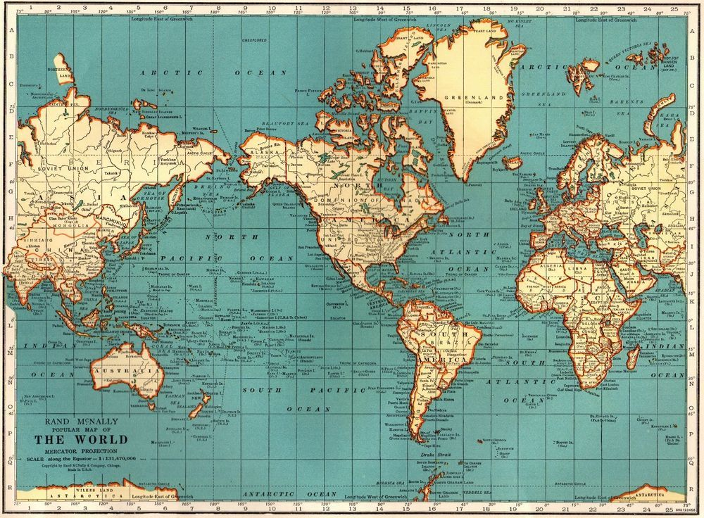 1939 Vintage WORLD Map of the World
