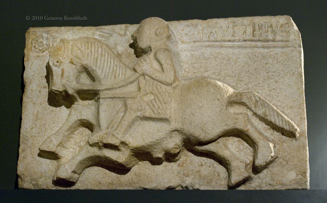 Saint Faustinus on horseback from Porta della Pile, mid 13th c., Brescia Museum of Santa Giulia