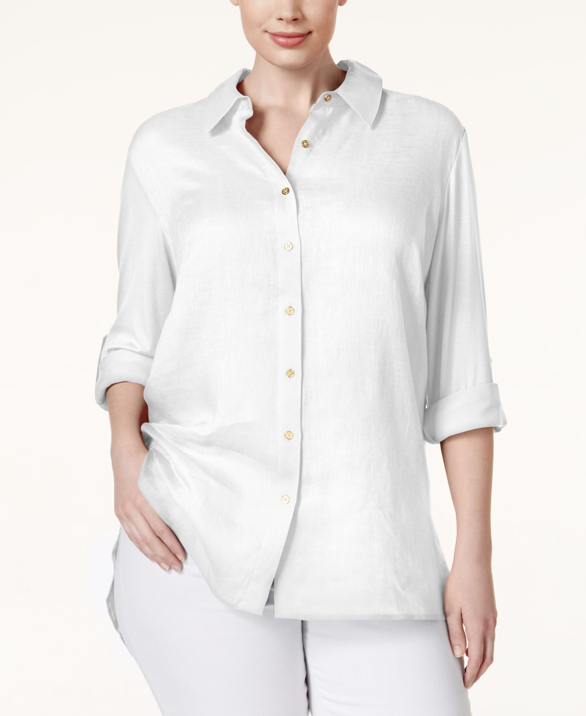 Calvin Klein Plus Size Tab-Sleeve Linen Shirt
