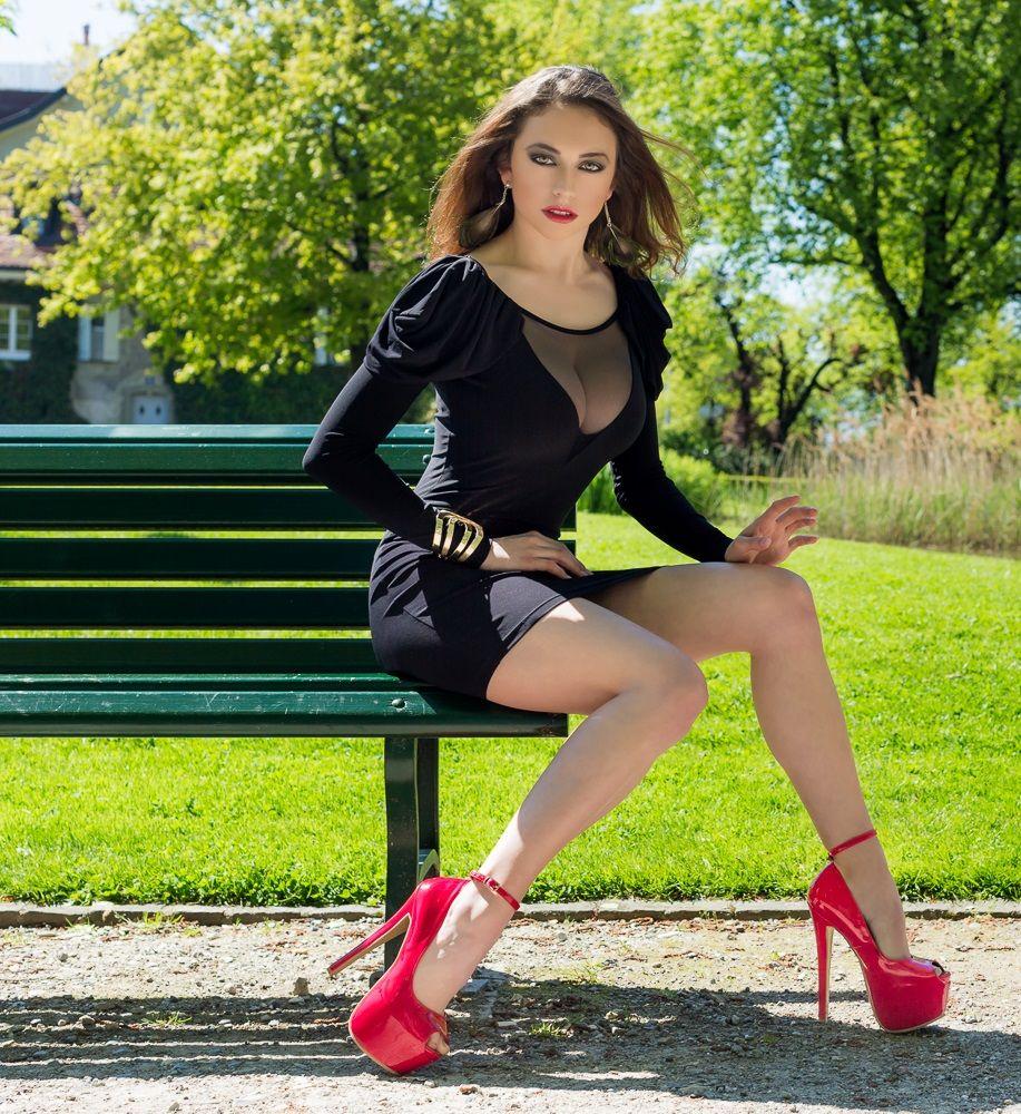 Sexy young woman high heels mini stock photo