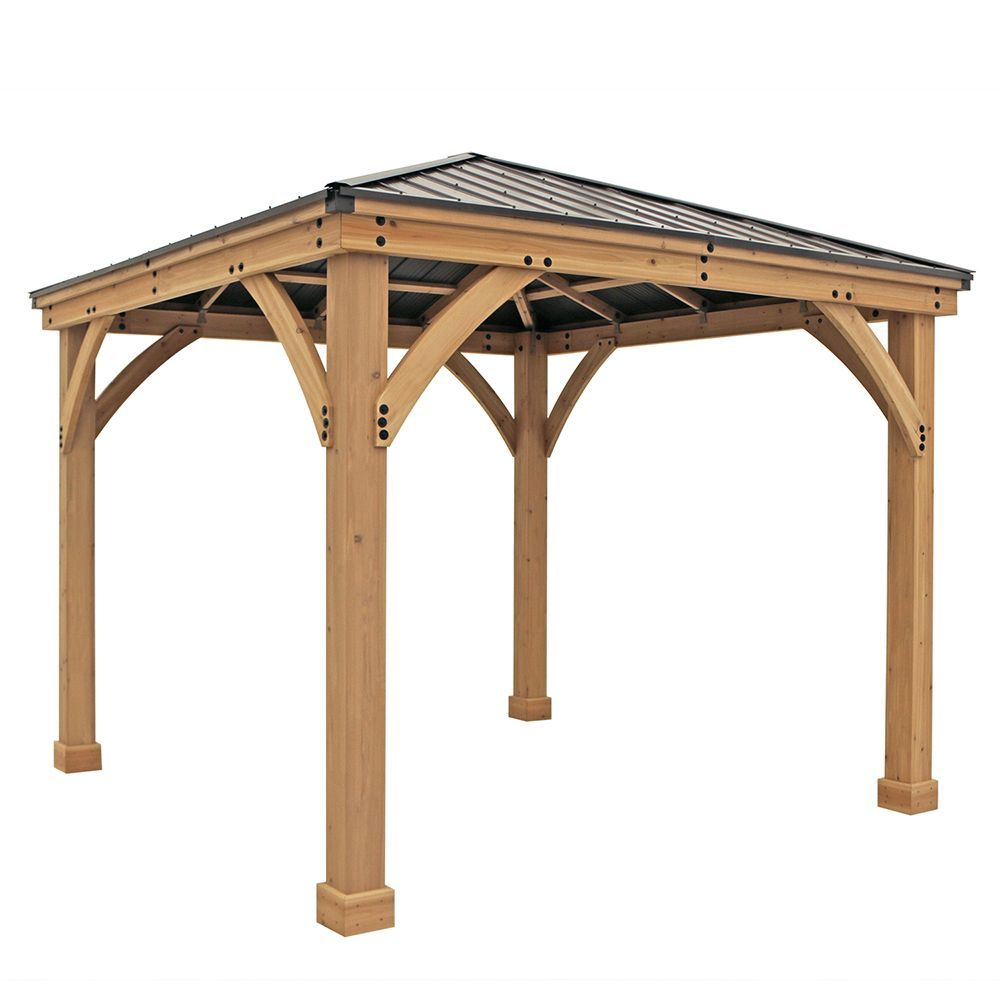 Meridian 10 Ft X 10 Ft Wooden Gazebo With Aluminum Roof With