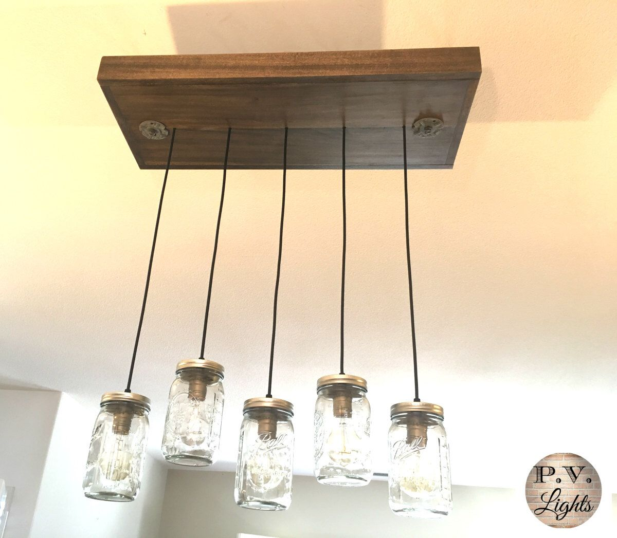 Vintage industrial pendant lamp mason jar light fixture wood light vintage industrial pendant lamp mason jar light fixture wood light fixture 5 pendants arubaitofo Images