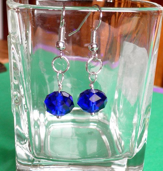 Sapphire Blue Faceted Crystal Earrings For by VintageIrishDresser