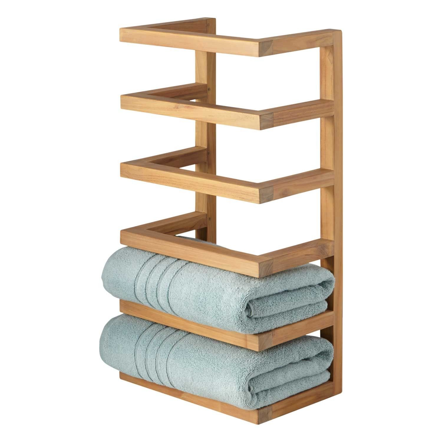 Teak Hanging Towel Rack Home Pinterest Hanging Towels Towel - Towel storage shelves for small bathroom ideas