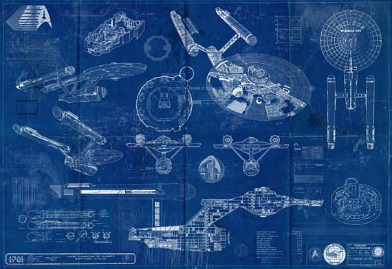 Star trek enterprise uss 1701 blueprint art print original tv star trek enterprise uss 1701 blueprint art print this evocative illustrative print would make a great malvernweather Gallery