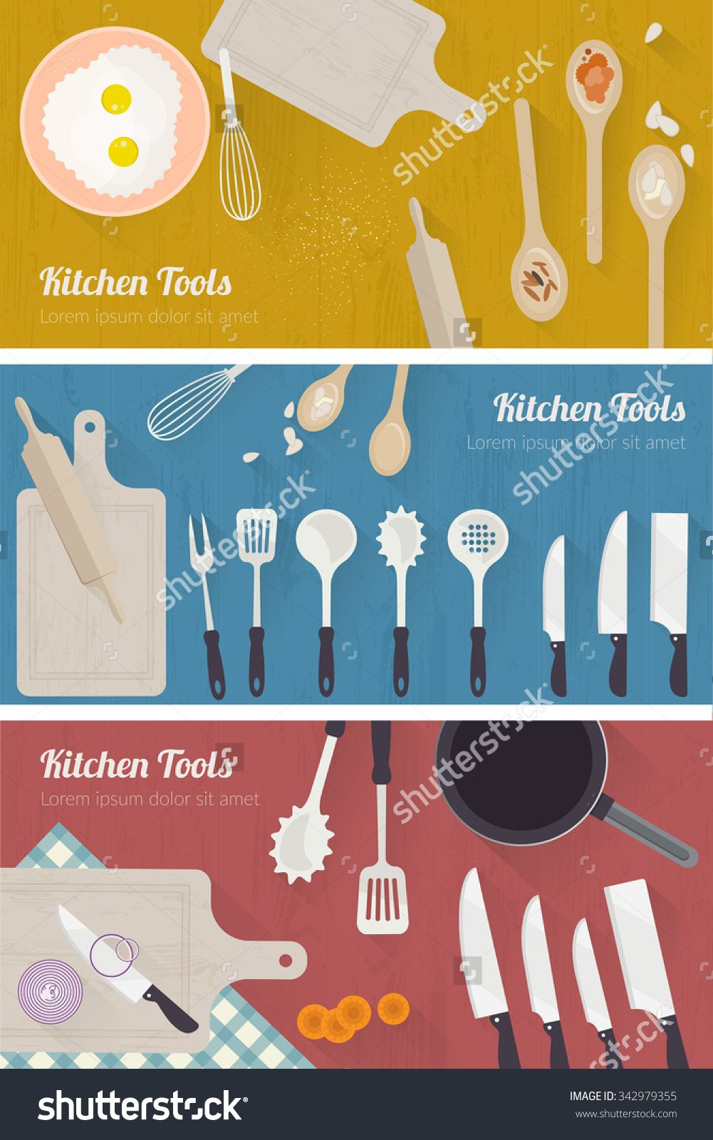 Vector cooking time illustration with flat icons. Kitchenware and ...