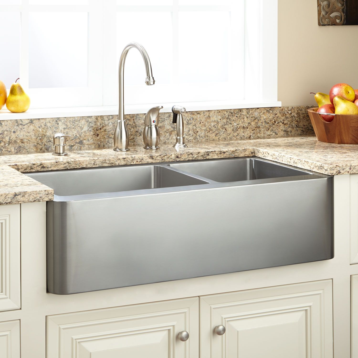 33 Hazelton 60 40 Offset Double Bowl Stainless Steel Farmhouse Sink Signature Hardware Farmhouse Sink Kitchen Stainless Farmhouse Sink Stainless Steel Farmhouse Sink