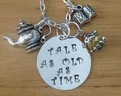 Tale as Old as Time Hand Stamped Charm Necklace