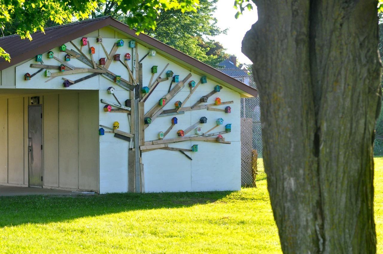Community birdhouse art jam 38 bird houses painted and