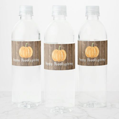 Happy Thanksgiving | Pumpkin Wood Water Bottle Label  whimsical home decor, oriental home decor, mistletoe decor #homedecor #homedecors #homedecorator