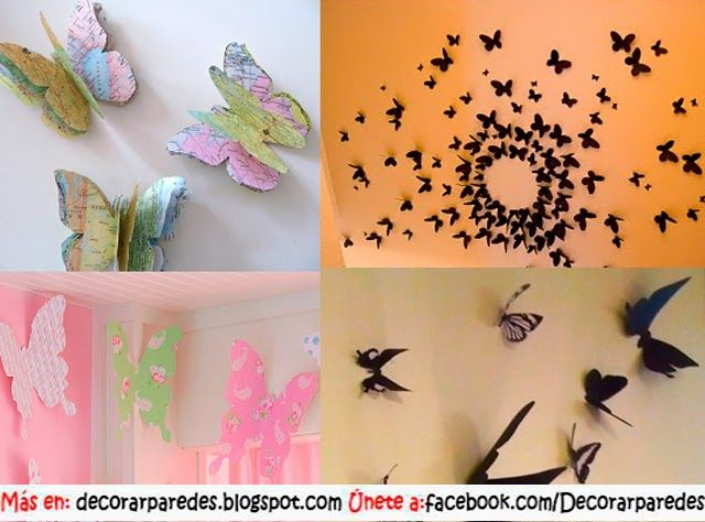 Decoraci n con mariposas de papel decorar paredes - Decoracion con mariposas ...