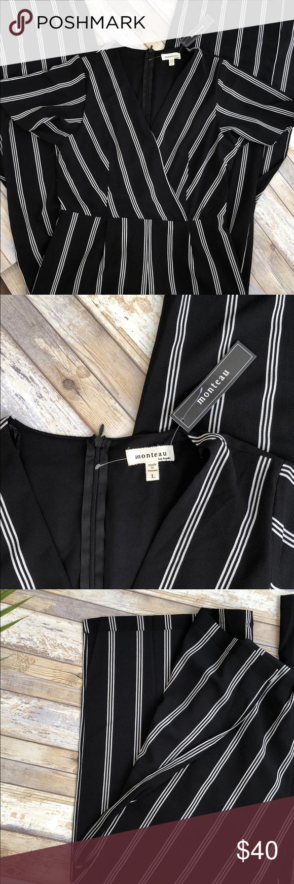 a18b29a8de01 Monteau Black   White Striped Jumpsuit NWT