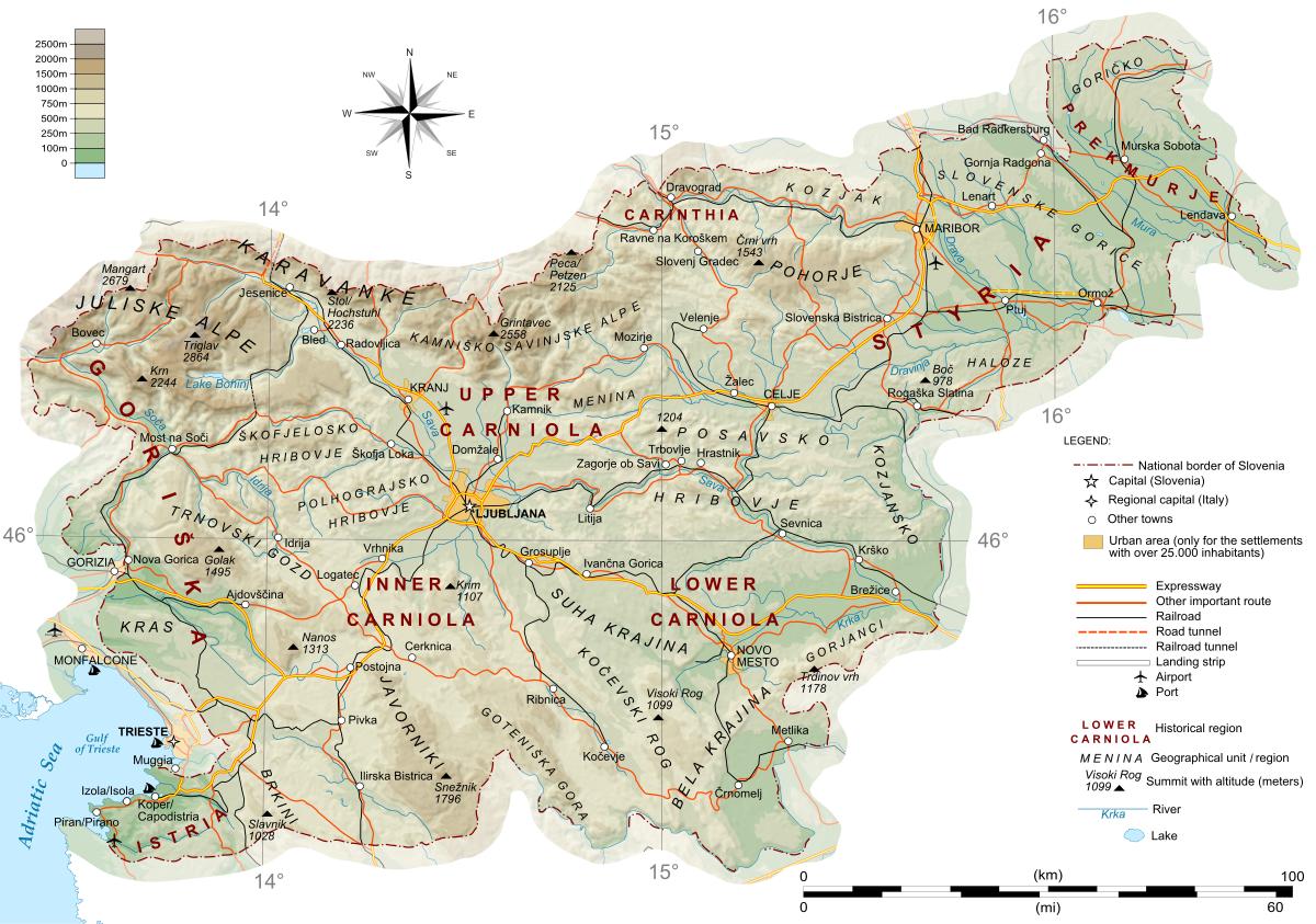 Geography Of Slovenia Wikipedia Map Of Slovenia Slovenia Map