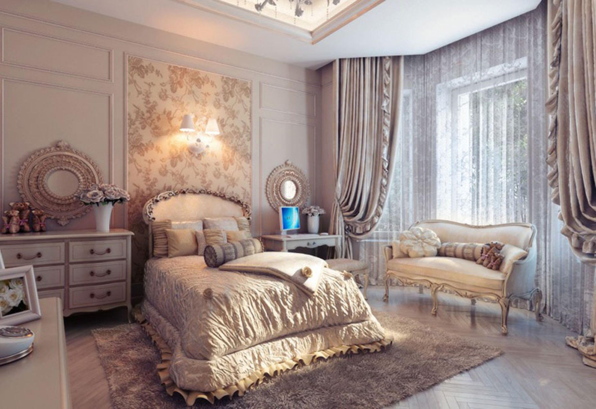Bedroom Designs, Traditional Cream Bedroom 2013 Charming Sofa Bed Cover Fur  Rug Fabric Laminate Flooring: Amazing Bedrooms With Traditional Elegance