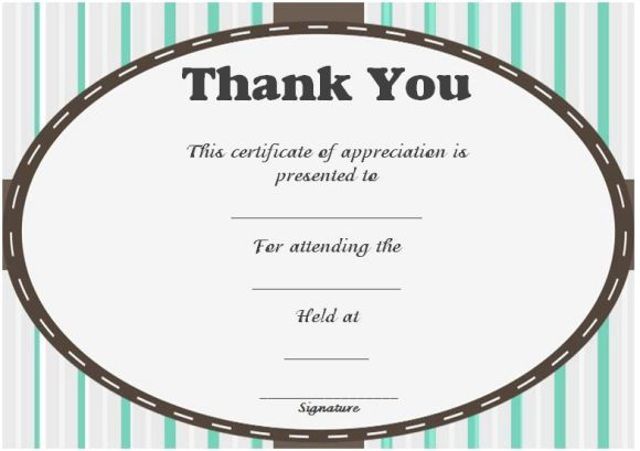 Thank You For Attending Certificate  Thank You Certificates