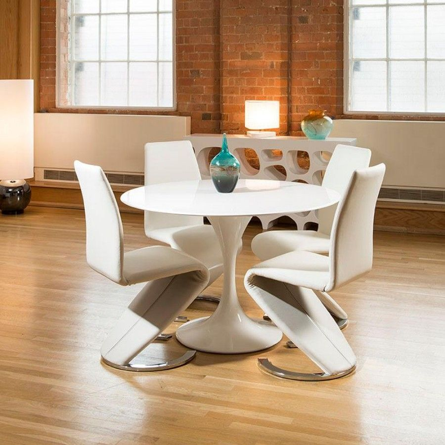 Round dining table and chairs for 4  Tulip Style Round Dining Table White Gloss   White Z Shape Chairs