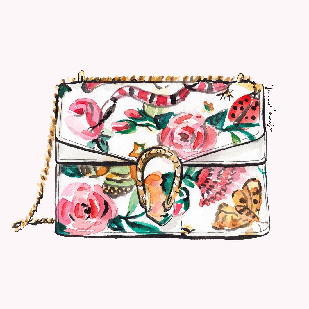 Gucci Floral bag illustration by jenandjennifer