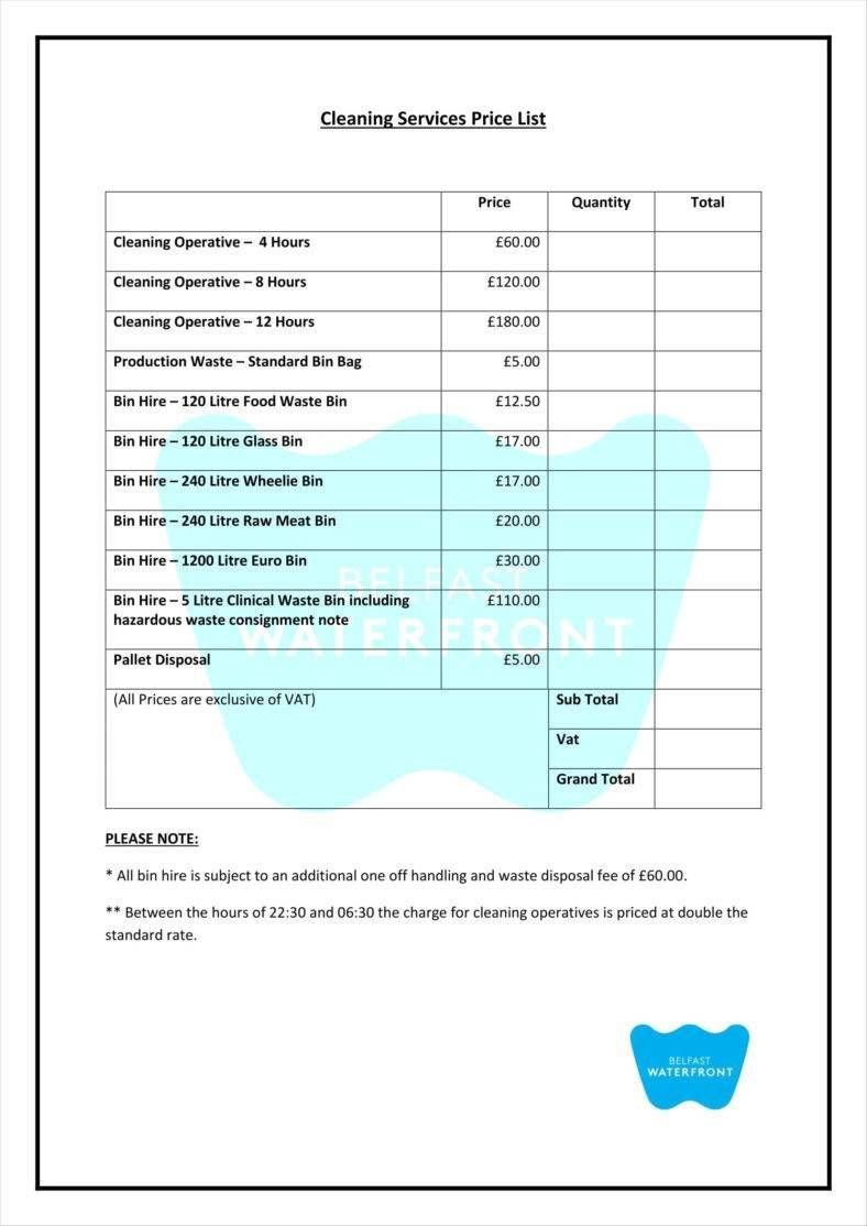 10 Cleaning Price List Templates Httpwwwcrunchtemplatecom10