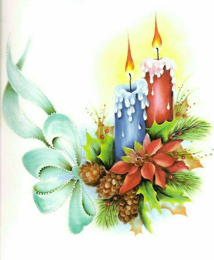 Pin de adela en pintura en tela pinterest velas for Pinturas navidenas