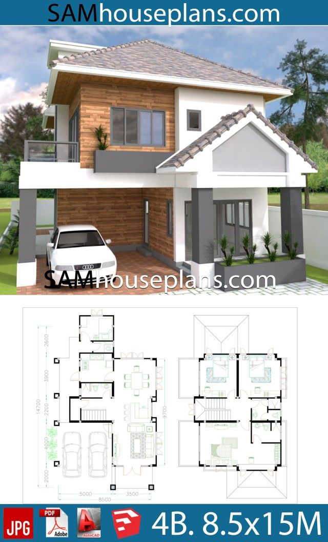 House Plans 8 5x15 With 4 Bedrooms Sam House Plans House Plans Duplex House Plans Affordable House Plans