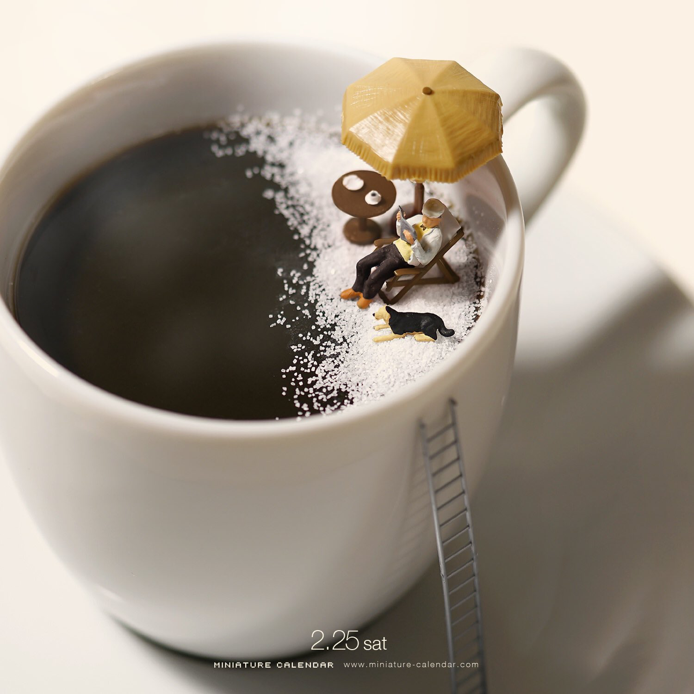 Pin By Irada Akhundova On Icoffeetea Hot Chokolate Pinterest Morgan Coffee Kopi Pirkle The Tiny Relaxing Figure And Ladder Are Out Of Proportion With Mug