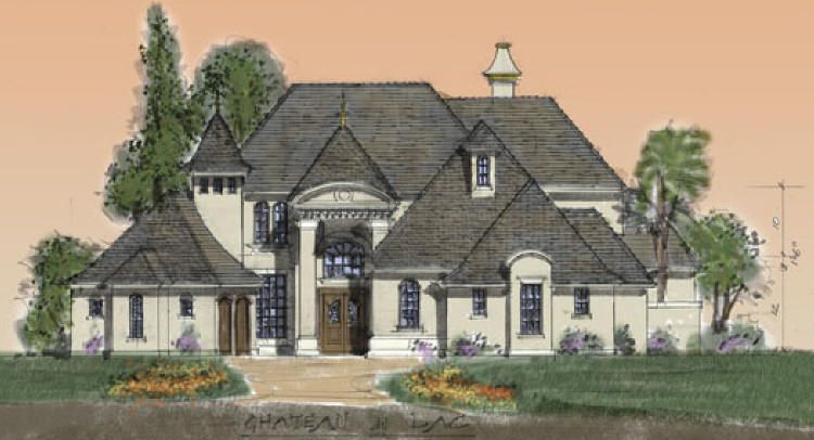 Chateau style via small luxury homes house plan for French chateau house plans