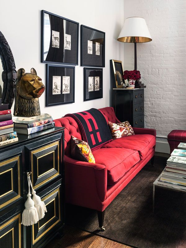 Red And Black Can Often Feel Harsh But The White And Gold Warm It Up Red Couch Living Room Living Decor Living Room Inspiration #red #couch #living #room #decor
