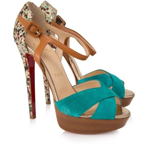 53171d342d05 Pre-owned Christian Louboutin Paint Splatter Heels ( 280) ❤ liked on  Polyvore featuring shoes
