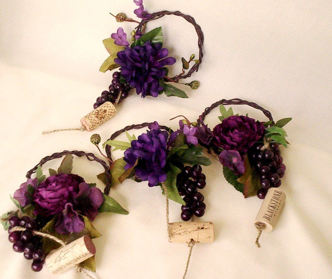 Bridal Shower Centerpieces Purple Wine Bottle Toppers Set Of 7