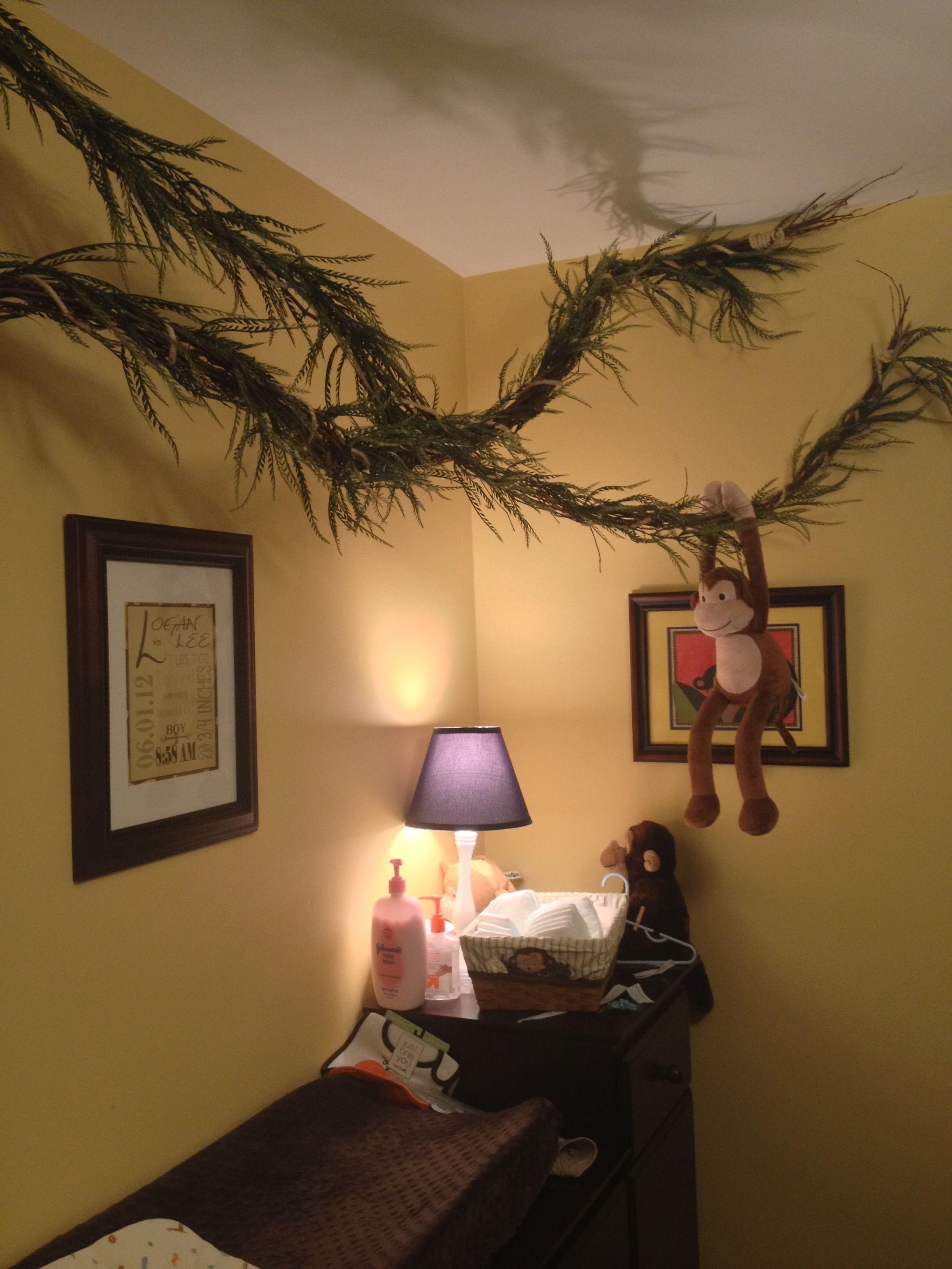 Loft bedroom no door  Loganus jungle nursery added even more monkeys to entertain him
