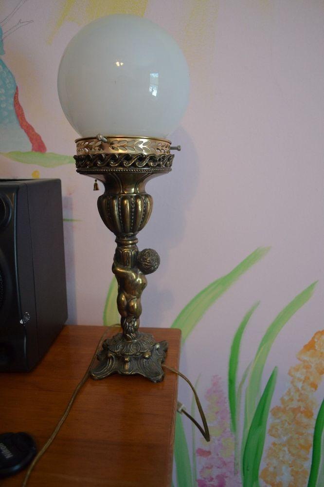 Antique Vintage Cherub Table Lamp