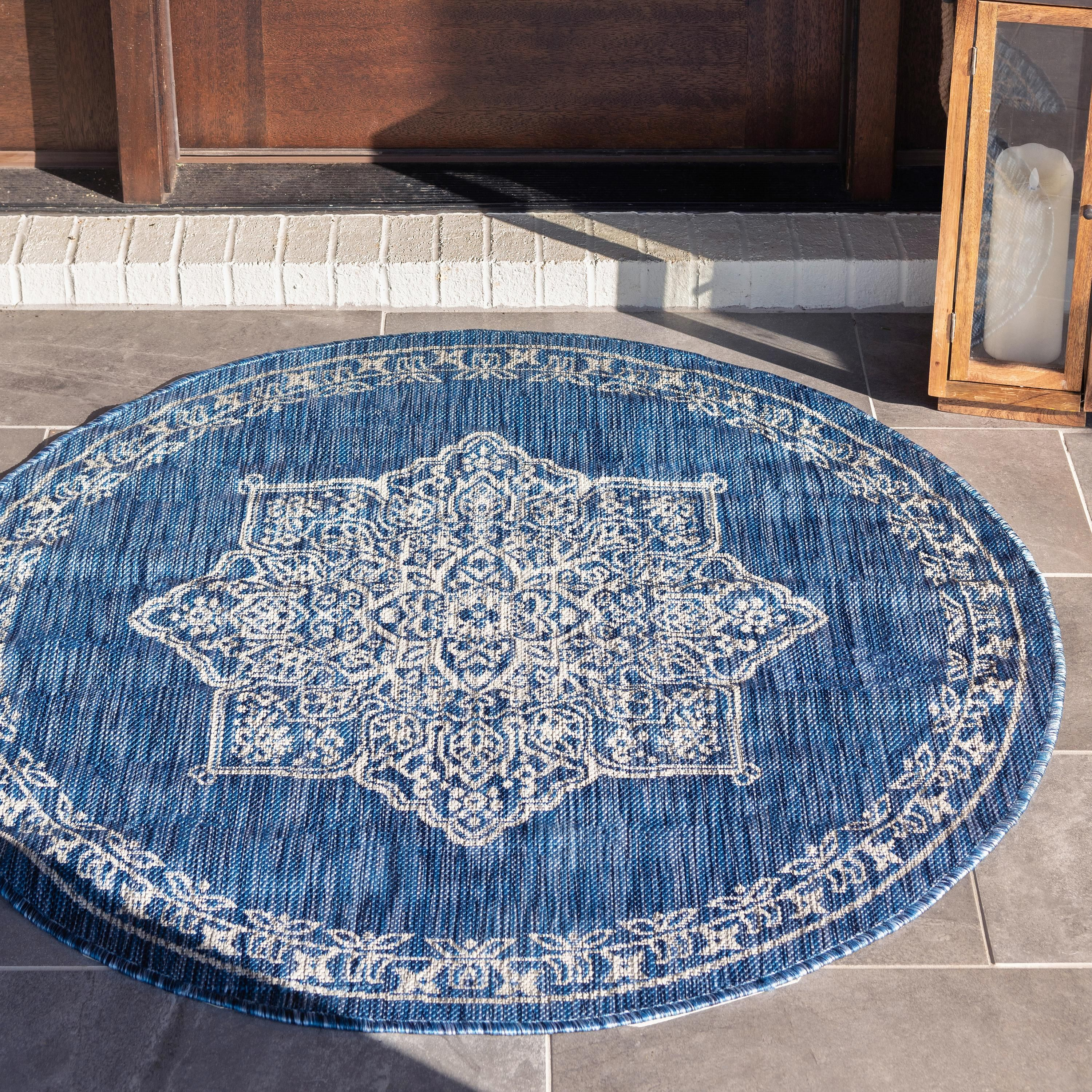Blue 4 X 4 Outdoor Traditional Round Rug Ad Outdoor Blue Rug Traditional Sponsored Round Area Rugs Outdoor Rugs Area Rugs