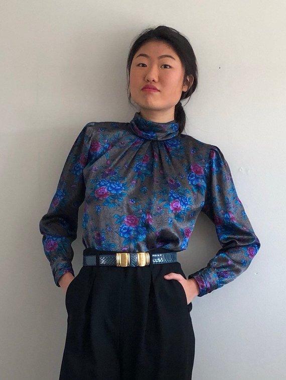 dolman sleeve blouse 1980s floral blouse high collar blouse oversized blouse