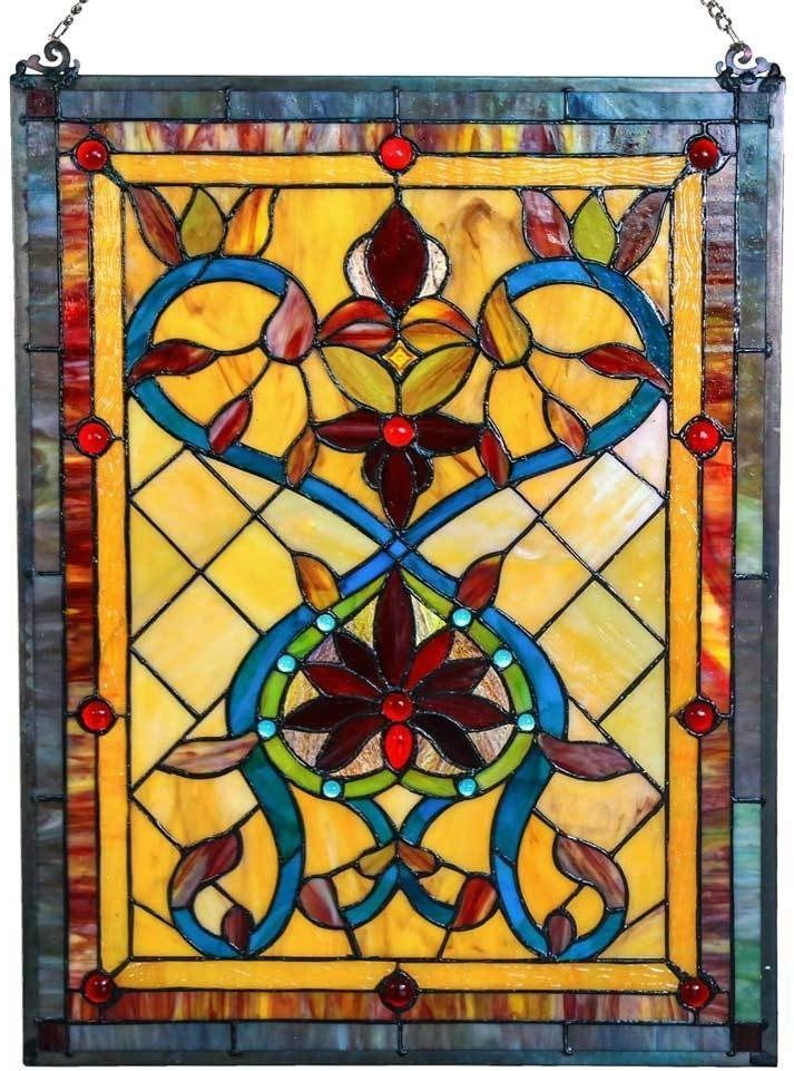 Tiffany Style Firey Hearts And Flowers Stained Glass 24-inch Window ...