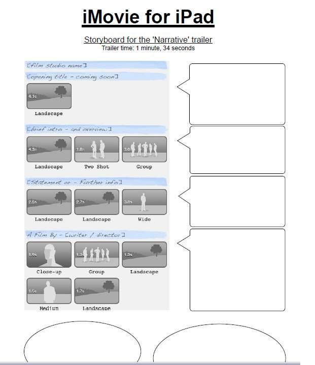 iMovie for iPad Printable Storyboard Templates - http://ipadtrial ...