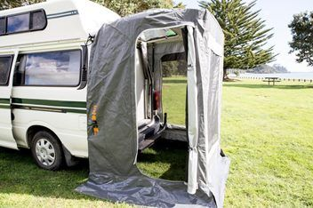 High quality and innovative 'Throw Over' rear door awning suitable