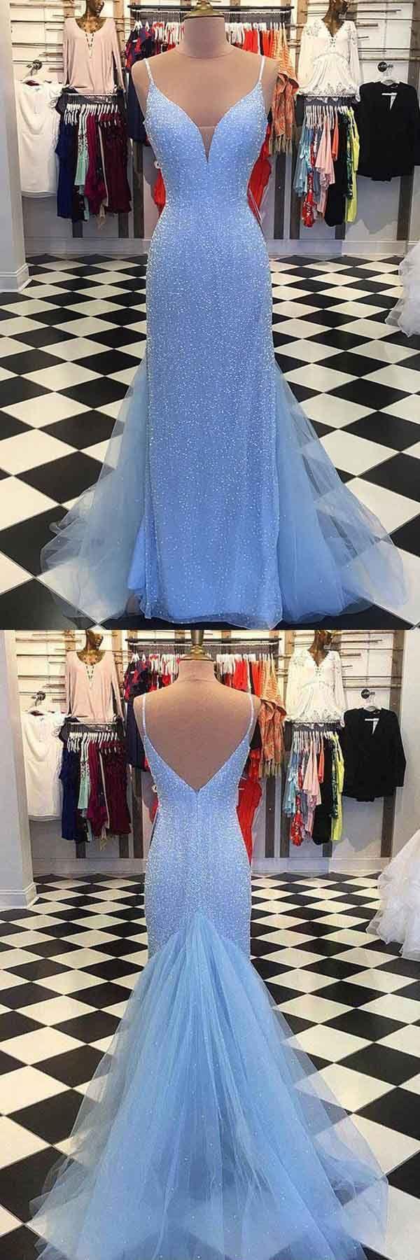 Straps light blue mermaid prom dresses beaded backless formal
