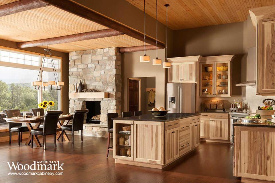 American Woodmark Cabinets Exclusively At The Home Depot Rustic Kitchen Cabinets Hickory Kitchen Hickory Kitchen Cabinets