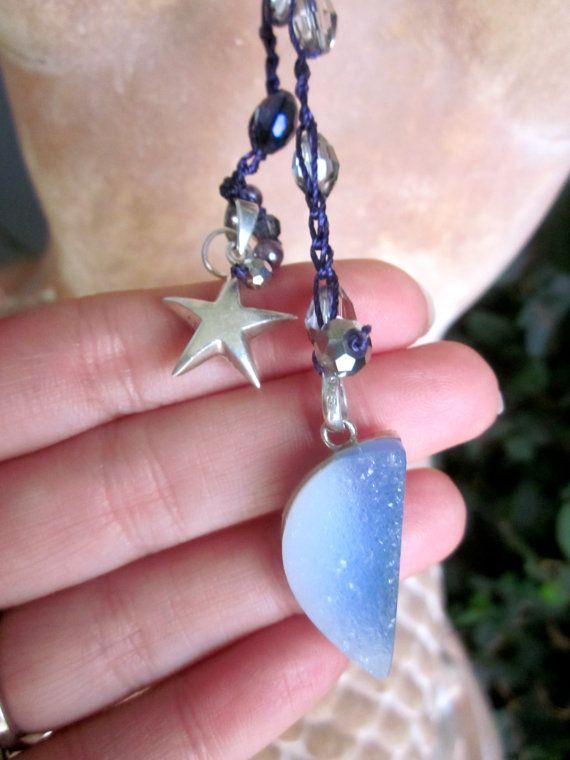 February birthday Amethyst celestial crochet necklace lariat w,moon shaped Druzy and silver star