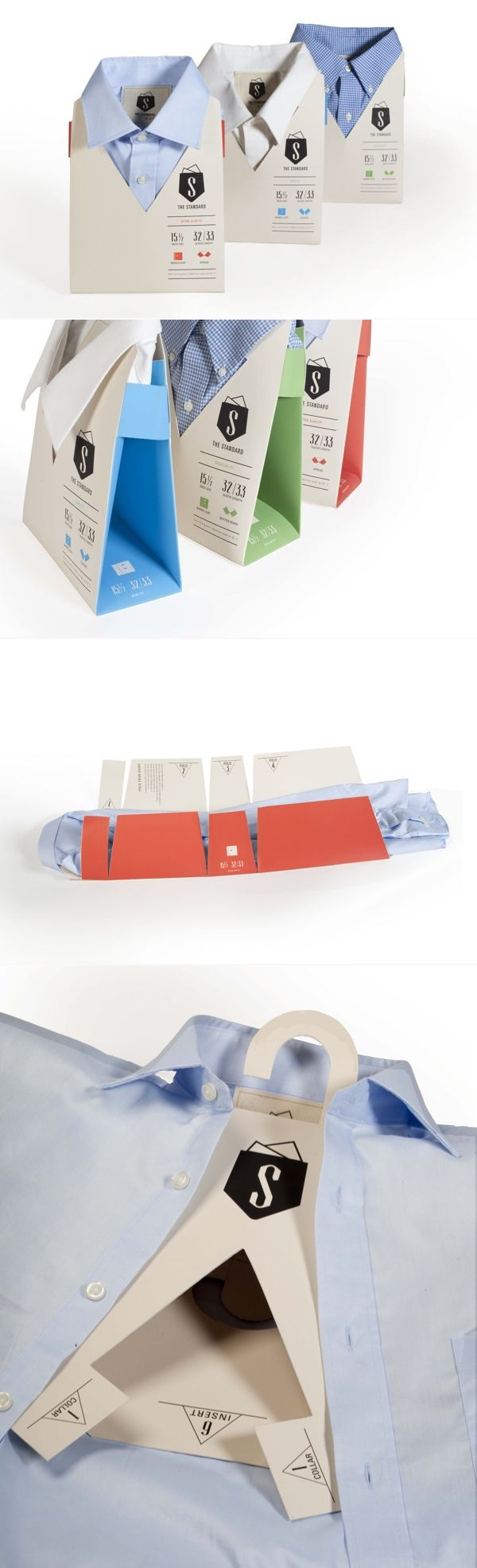 Standard Dress Shirt - eliminating excess packaging / by Jille Natalino, Elizabeth Kelley, Rob Hurst, Joanna Milewski, via Behance. Very cool #packaging #design PD