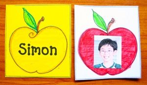 """Name activities: FREE apple-themed Memory Match and """"I Have; Who Has?"""" games to help students learn names.  They match the name to the photo. I'm going to make extras with staff names & pix as well. (principal, teachers, nurse, janitor, librarian, secretary etc.)"""