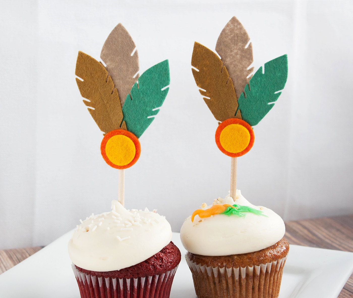 Indian Cupcake Topper Tiki Grove Set of 8 by SugarSnapBoutique, $24.00