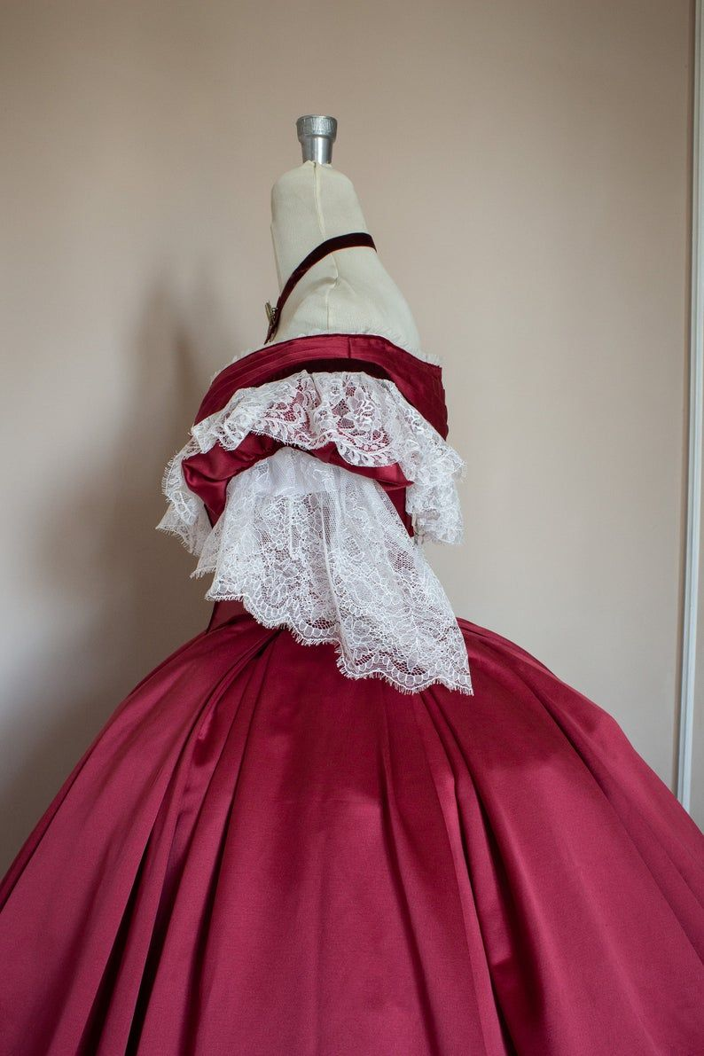 Victorian Prom Dress Victorian Ball Gown Burgundy Satin White Lace And Velvet Ribbon With Bertha Model Giorgia 1860 In 2021 Dresses Victorian Prom Dress Victorian Ball Gown [ 1191 x 794 Pixel ]