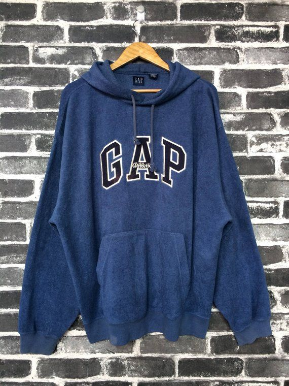 6ac63cab584f Vintage 90s Gap Athletics Sweater Hoodie Blue Sweatshirt Big Logo Winter  Wear Street Fashion Town Sw